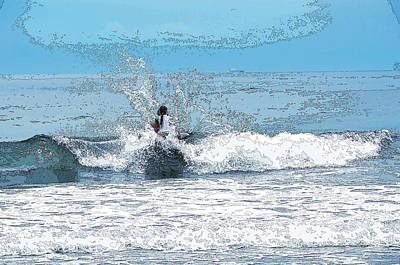 Art Print featuring the photograph Through  The Wave Blues by Maureen E Ritter