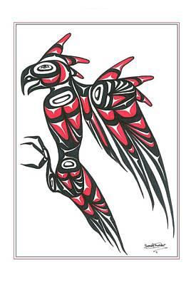 Thunder Bird Red And Black Art Print by Speakthunder Berry