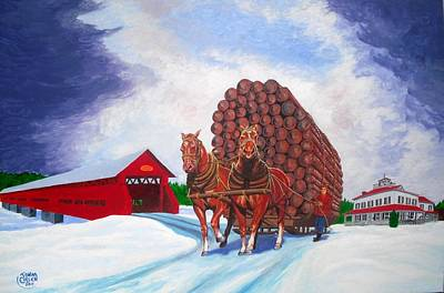 Snow Forts Painting - Thunder Load 1920 Fort Coulonge Quebec by John Cullen