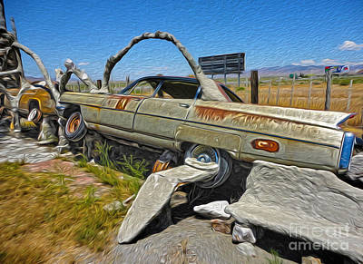 Thunder Mountain Indian Monument - Car Wrecks Print by Gregory Dyer