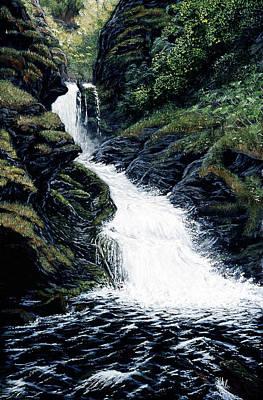 Art Print featuring the painting Thunderbird Falls by Kurt Jacobson