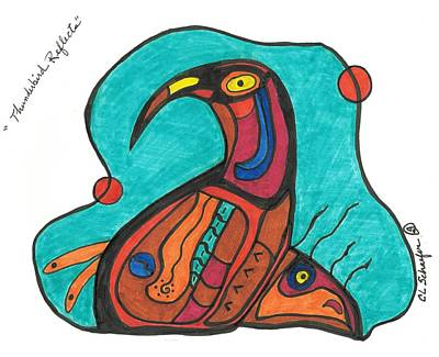 Native American Thunderbird Art Drawing - Thunderbird Reflects by Carolyn L Schaefer