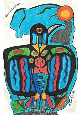 Native American Thunderbird Art Drawing - Thunderbird Whale by Carolyn L Schaefer