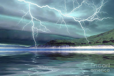 Natural Forces Digital Art - Thunderclouds And Lightning Move by Corey Ford