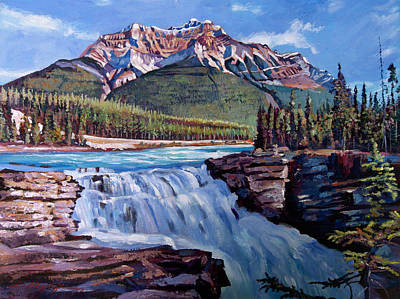 Canadian Rockies Painting - Thundering River by David Lloyd Glover