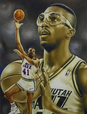 Utah Jazz Drawing - Thurl Bailey by Cory McKee