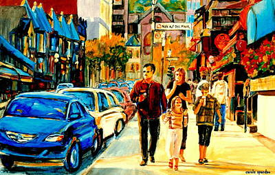Montreal Street Life Painting - Thursdays Pub On Crescent Street Montreal City Scene by Carole Spandau