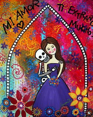 Dia De Los Muertos Painting - Ti Extrano Mucho by Pristine Cartera Turkus