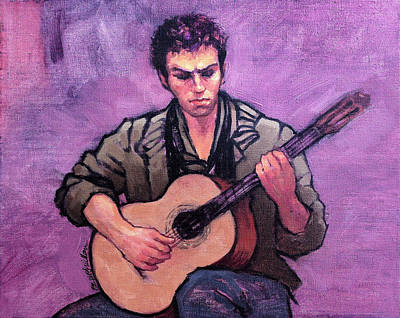 Tiago The Flamenco Guitarist Original by Roz McQuillan