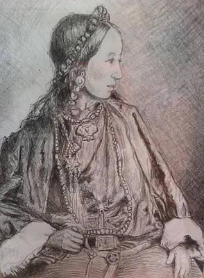 Tribal Women Drawing - Tibetan Woman by Gloria Avner