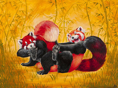 Red Panda Painting - Tickle Fight by Beth Davies