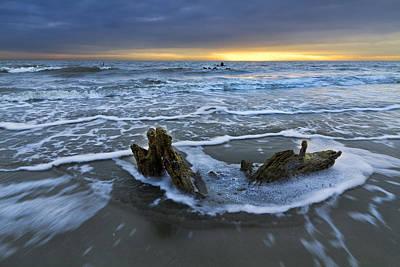 Tides At Driftwood Beach Art Print by Debra and Dave Vanderlaan