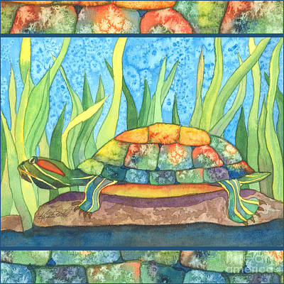Painting - Tie Dye Turtle by Kristen Fox