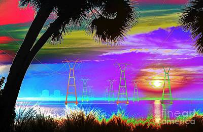 Digitalized Photograph - Tie-dyed Sunrise At The Plant by Lynda Dawson-Youngclaus