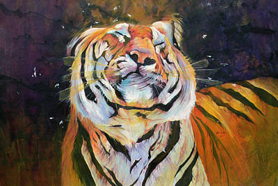 Tiger - Shaking Head  Art Print by Odile Kidd