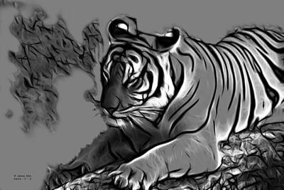 Digital Art - Tiger -3825 - Greyscale by James Ahn