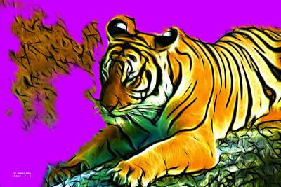 Digital Art - Tiger -3825 - Magenta by James Ahn