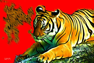 Tiger - 3825 - Red Art Print