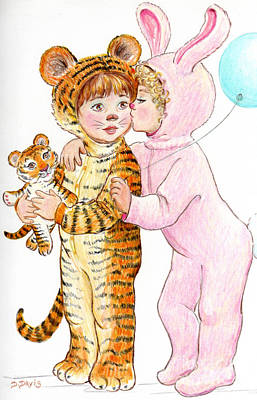 Tiger And Bunny In The Children's Parade Art Print