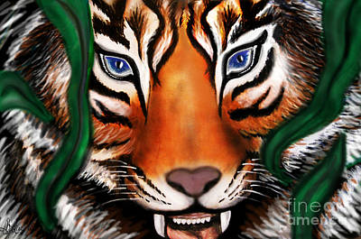 Mayfield Mixed Media - Tiger by Christine Mayfield