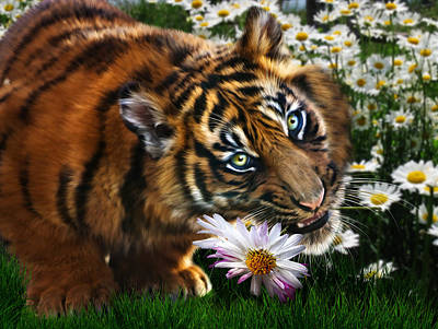 Tiger Cub Digital Art - Tiger Flowers by Julie L Hoddinott