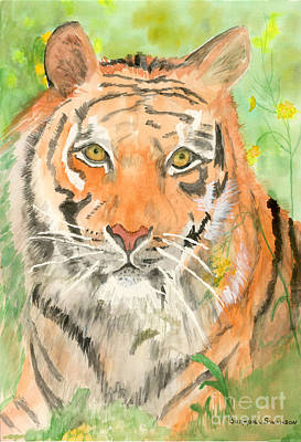 The Tiger Painting - Tiger In The Meadow by Delores Swanson