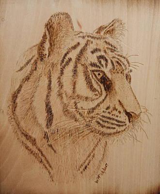 Tiger On Wood Original by Bill Fugerer