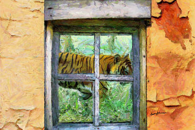Cabin Window Digital Art - Tiger Outside My Window by Anthony Caruso