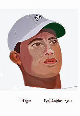 Masters Winners Painting - Tiger Portrait by Fred Jinkins