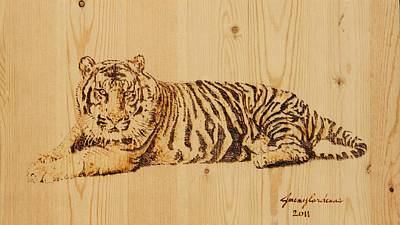 Pyrography On Wood Pyrography - Tiger Pyrography by Jeremy Cardenas