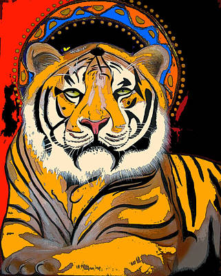 Christina Miller Painting - Tiger Saint Photoshop by Christina Miller