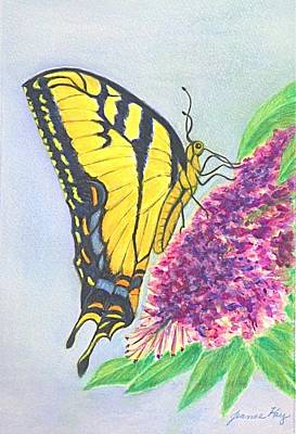 Painting - Tiger Swallowtail Butterfly Visitor by Jeanne Kay Juhos