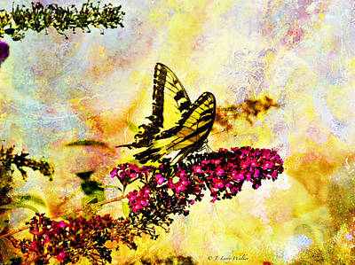 Digital Art - Tiger Swallowtail Feeding by J Larry Walker