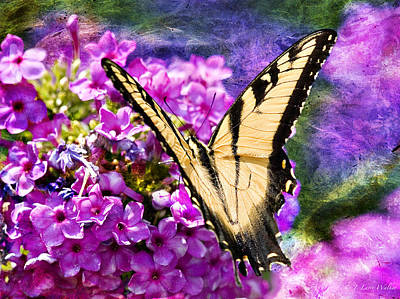 Digital Art - Tiger Swallowtail Morning Feed by J Larry Walker