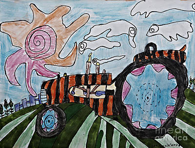 Field Lights Drawing - Tiger Tractor by Stephanie Ward