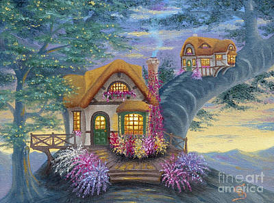 Sandru Painting - Tig's Cottage From Arboregal by Dumitru Sandru