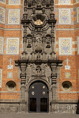 Photograph - Tiled Church Facade Puebla Mexico by John  Mitchell