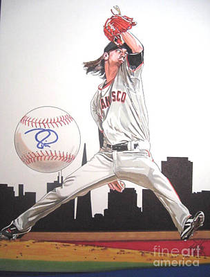 San Francisco Giants Drawing - Tim Lincicum by Neal Portnoy