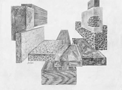 Wood Grain Drawing - Timber And Stone by Frank SantAgata