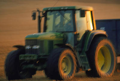 Time-exposure Image Of A Tractor At Work Art Print