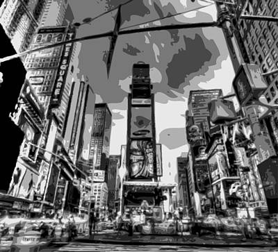 Time Square Bw6 Print by Scott Kelley