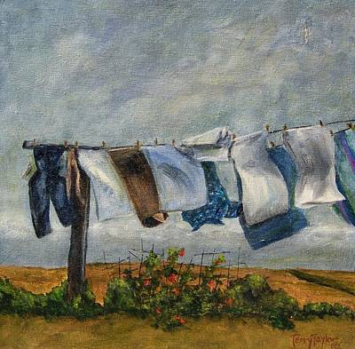 Art Print featuring the painting Time To Take In The Laundry by Terry Taylor