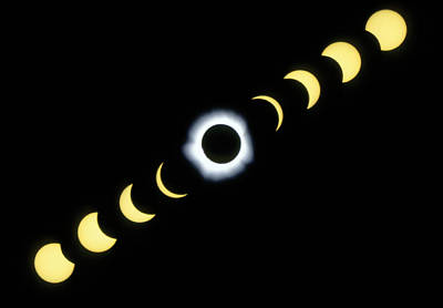 Timelapse Image Of A Total Solar Eclipse Print by Dr Fred Espenak