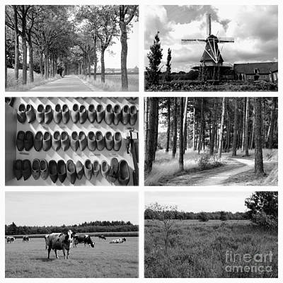 Timeless Brabant Collage - Black And White Art Print