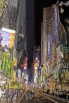 Times Square Abstract Print by Robert Ponzoni