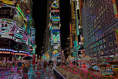 Times Square Photograph - Times Square At Night II by Clarence Holmes