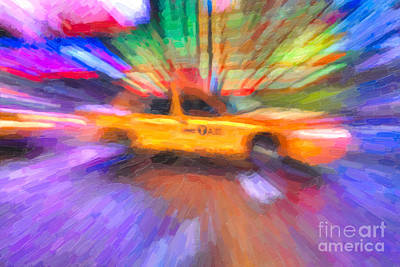 Times Square Photograph - Times Square Taxi In Oil I by Clarence Holmes