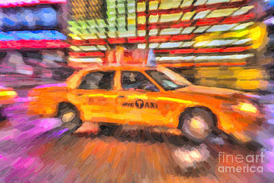 Photograph - Times Square Taxi In Oil II by Clarence Holmes