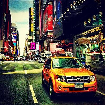 Time Photograph - Times Square Taxi by Luke Kingma