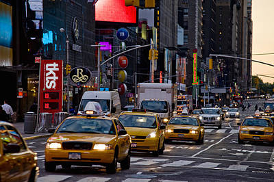 Times Square, Theatre District, Manhattan, New York, Usa Print by Ben Pipe Photography
